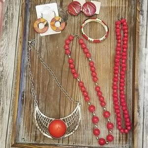 Vintage mixed jewelry lot (red)
